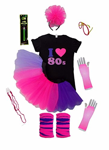 I Love 80's Pink Purple Lilac Set 80s Fancy Dress Ladies Neon Fluorescent Complete Set (Small)