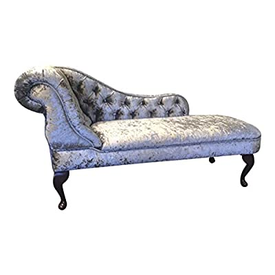Deluxe Traditional Chaise Longue in Silver crushed velvet fabric by SimplyChaise