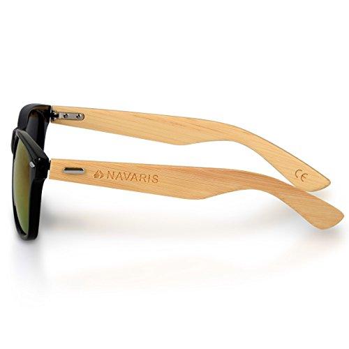 Holz Brille mit Bambus Bügeln Sonnenbrille UV400 Damen Herren Schwarz