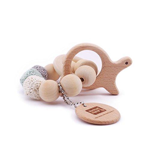 Mamimami Home Baby Beißring Tierhäkelarbeit Natürliches Baby Hölzerner Beißring das Stilvolle Baby Armband Zettel Spielwaren Trägt