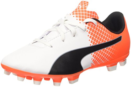Puma Evospeed, Chaussures de Foot pour Evo 5.5 AG Jr Enfants et Adolescents (Football) Multicolore (Bianco/Nero/Shocking Orange)