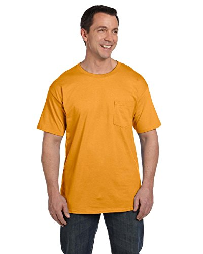 Hanes Men's Beefy-T T-Shirt With Pocket Gold - Gold
