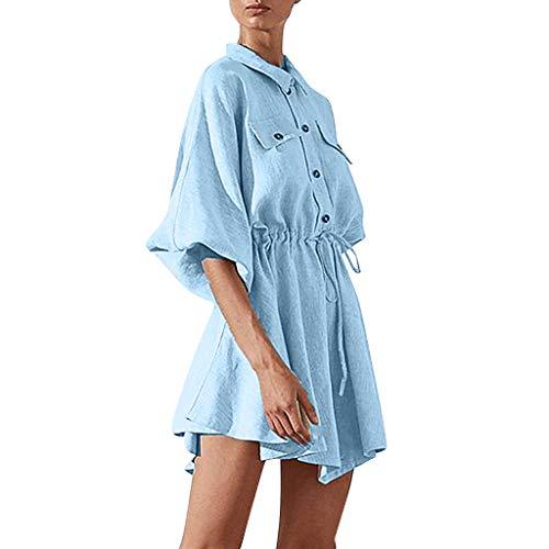 AIni Damen Revers Reine Farbe Knopf Kordelzug Verband Einfach Minikleid Strandkleid Abendkleider BeiläUfiges Kleid Festlich Partykleid