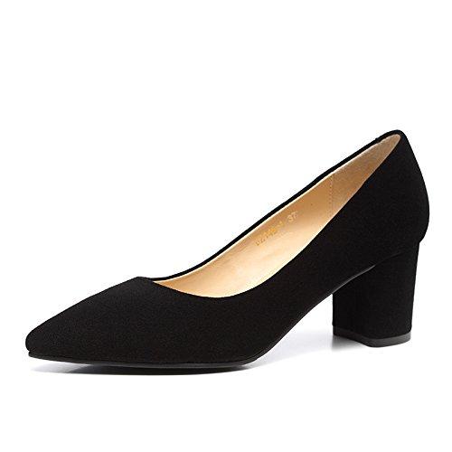 WSS chaussures à talon haut Chaussures en cuir de bouche peu profondes des talons hauts talons à bout de femmes de carrière de tempérament les chunky talons chaussures basses Black