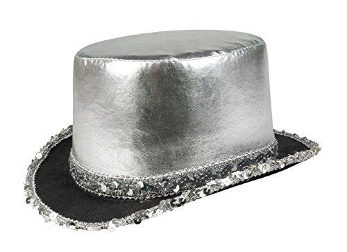 erdbeerloft - Kostüm Gala Hut Karneval Glitzer Pailetten, Silber (Verziert Short Boy)