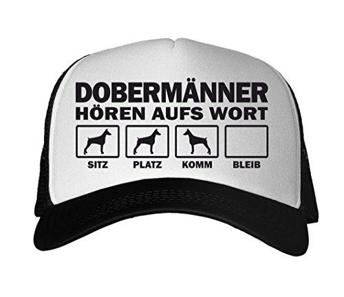 SIVIWONDER CAP MESH - DOBERMANN Security K9 Diensthund Dobermänner - HÖREN aufs WORT - Baumwoll Trucker schwarz -