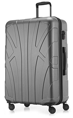 Suitline großer Hartschalen-Koffer Koffer Trolley Rollkoffer XL Reisekoffer, TSA, 76 cm, ca. 86 Liter, 100{4de4be6292933cae5785a1c3426bbafb9a90232bbf109e1811057358450ae6ae} ABS Matt, Silber