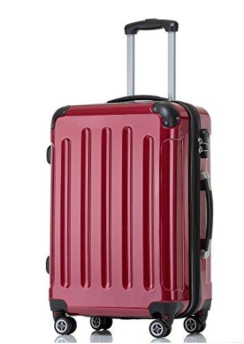 BEIBYE Hartschalen Koffer Trolley Rollkoffer Reisekoffer 4 Zwillingsrollen (Handgepäck-40L, Rot)