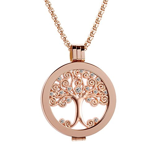 Meilanty Coins 33mm Rosegold Anhänger Lebensbaum Rosegold Ketten Edelstahl Coin Schmuck Damen