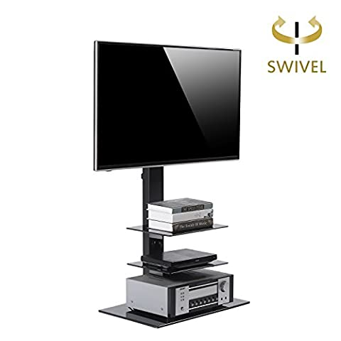 RFIVER Universal TV Entertainment Center,Media Towers TV Furniture, Floor Corner 3-in-1 TV Stands with Swivel Height Adjustable TV Mount Bracket for 32 to 65 inch LCD LED OLED QLED TVs and Glass Media Storage Shelf Black ,TF2002