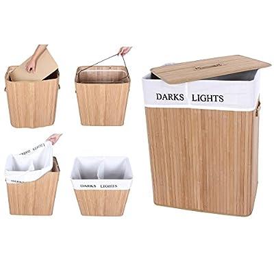 Faltbarer Wäschekorb mit 2 Fächern für helle und dunkle Wäsche