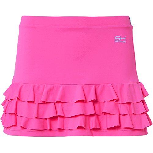Sportkind Mädchen & Damen Tennis / Hockey / Golf Rüschenrock mit Innenhose, neon pink, Gr. 128