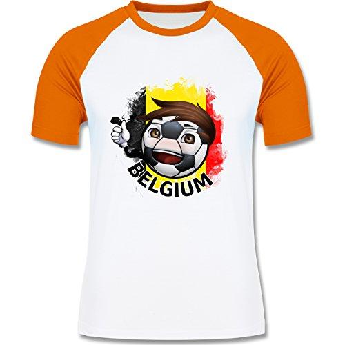 EM 2016 - Frankreich - Fußballjunge Belgien - zweifarbiges Baseballshirt für Männer Weiß/Orange