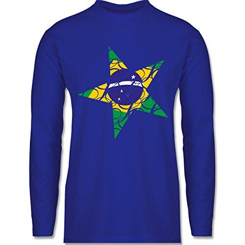 Länder - Brasilien Stern - Longsleeve / langärmeliges T-Shirt für Herren Royalblau