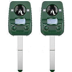 AngLink 2er-Set Solar Katzenschreck Tiervertreiber Wetterfest Ultraschall mit Batteriebetrieben und Blitz | Tierabwehr Hundeschreck und Marderschreck | Waschbärvertreiber Version 2018