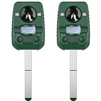 AngLink Répulsif Chat Ultrason Solaire 2 Pack pour Eloigner les Animaux Nuisibles de Votre Jardin | Rongeurs Taupes Chats Chiens Oiseaux Foxes et autres - Nouvelle Version