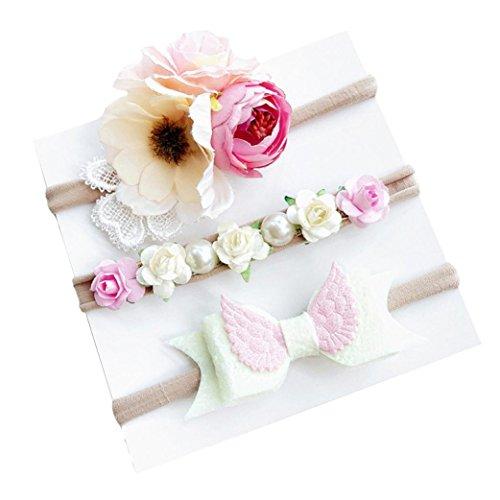 Huhu833 3 Stück/Satz Kinder Mädchen Baby Kleinkind Blume Stirnband Haarband Headwear (A)
