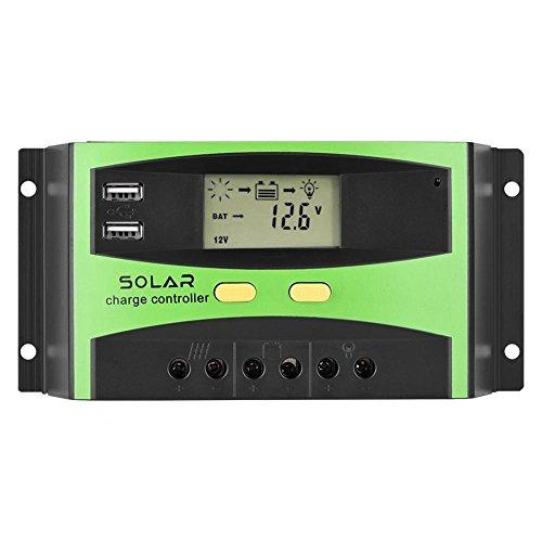 Eboxer 20A 30A 40A 50A 60A Automatisch LCD Solar PV Laderegler PWM Solar Ladegerät Controller Dual USB Sonnenkollektor-Controller(20A+Grün) 24v-20a Ladegerät