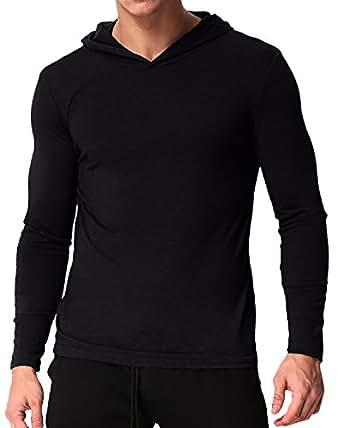 MODCHOK Men's Long Sleeve Hoodie T-Shirts Classic V-Neck Tee Tops Causal Hoodies Black S