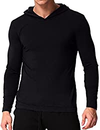 MODCHOK Hombre Camiseta Manga Larga Sudaderas con Capucha Ligera T-Shirt Sweatshirt