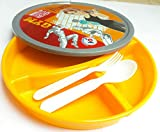Pawan Plastic Vardhman Carry Go Attractive and Plastic Baby Girls Character Printed 3 Section Divided Microwave Safe Dish Food Serving Plate with Lid for Kids (Design May Vary)