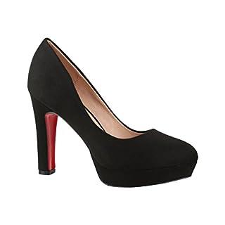 Elara Damen Pumps   Bequeme High Heels   Vintage-Style   Abendschuh Trendy   Chunkyrayan   E22360 Black-37