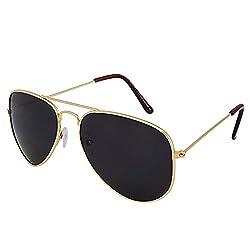Silver Kartz Retro Aviator Unisex Sunglasses (AV030|40|Black,Green)