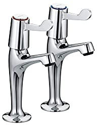Bristan VAL HNK C CD Lever High Neck Pillar Taps with Ceramic Disc Valves - Chrome Plated