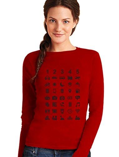 Reisegeschenk 40 Zeichen Zum Verständigen Witzig Frauen Langarm-T-Shirt Rot
