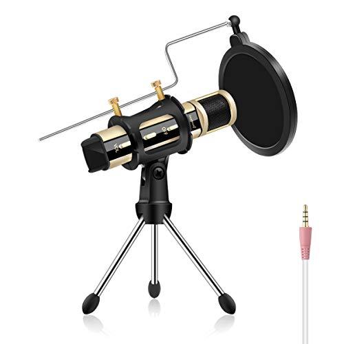 ZealSound Kondensator Aufnahme Mikrofon, Karaoke APP Aufnahme Mikrofon Tragbar mit Stände für Gesang und Aufnahme Kompatibel mit iPhone, Smartphone, ASMR, Live-Streaming, YouTube, Laptop, usw (Gold)