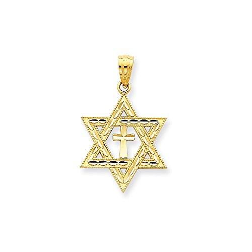IceCarats Designer Jewellery 14K Diamond-Cut Star Of David W/Cross Pendant