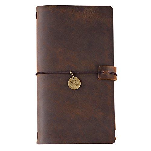 65f7e7fe3093 Refillable Travelers Notebook Leather Jouranl - Grid Insert, Zipper Pouch &  Kraft File, Bronze Charm, Standard Size, Brown