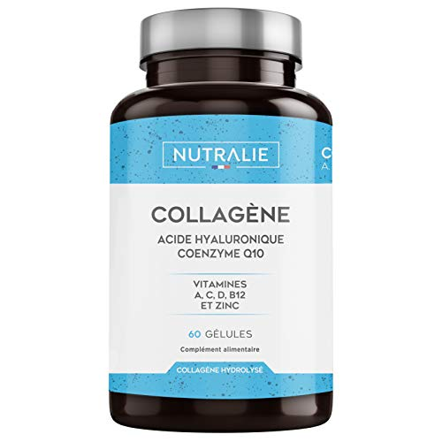 NUTRALIE | Collagène + Acide Hialuronique + Coenzyme Q10 + Vitamines A, C, D et B12 + Zinc | Pour les Articulations et la Peau | Collagène Hydrolysé dans 60 Gélules