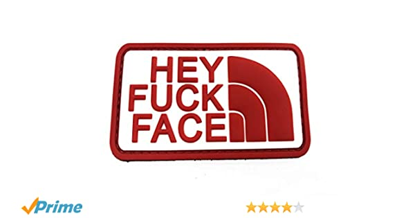 Hey F*** Face Rosso Bianca Paintball Airsoft PVC Morale