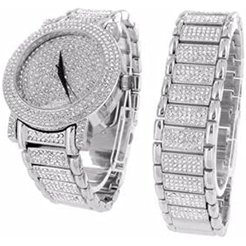 Reloj y pulsera Set de regalo para hombre acabado de oro blanco de 14 K HipHop Iced Out Lab Diamonds Analog nuevo