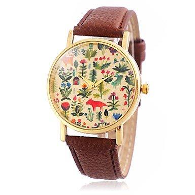 Schöne Uhren, Damen Modeuhr / Armbanduhr Quartz / Leder Band Vintage / Karton / Blätter / Blume / Cool / Bequem Schwarz / Rot / Braun / Gelb Marke ( Farbe : Braun , Großauswahl : Einheitsgröße )