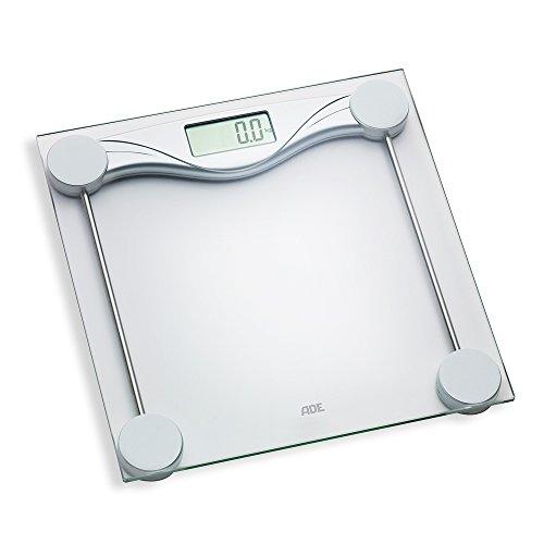 ADE Digitale Personenwaage BE 1510 Olivia. Elektronische Glaswaage aus gehärtetem Sicherheitsglas mit stilvollem silbernen Unterbau. Zur genauen Gewichtsbestimmung bis 180 kg. Inklusive Batterie