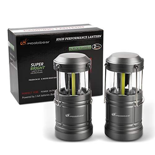Moobibear Akku Campinglampe LED Laterne neueste COB LED mit 500 Lumen, leichte hängelampe mit magnetfuß, Stretch dimmbar Arbeitslampe für Outdoor Aktivitäten, Camping, Notbeleuchtung, 2 Stück