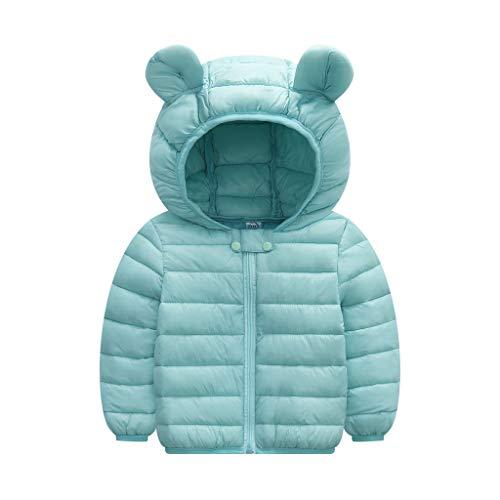Livoral Kinder Jungen Mädchen Wintermäntel Jacke Kinder Reißverschluss Dicke Ohren Schnee Kapuze Outwear(A-Minzgrün,120)