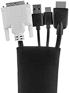 AmazonBasics Cable Sleeve - Zipper, 40-Inch, Black, 2-Pack