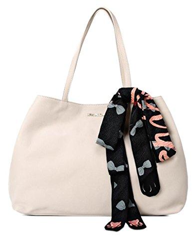 Borse Shopping Love Moschino Donna Poliuretanica Avorio e Platino JC4075PP12LJ0110 Beige 11x26x38 cm