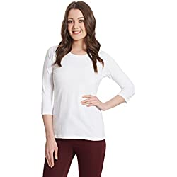 Miss Chase Women's Basic T-shirt (MCS14TS01-06-82_White_Large)