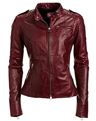 Royal Outfit Genuine Lambskin Real Leather Slim Fit Biker Jacket of Women's - Maroon