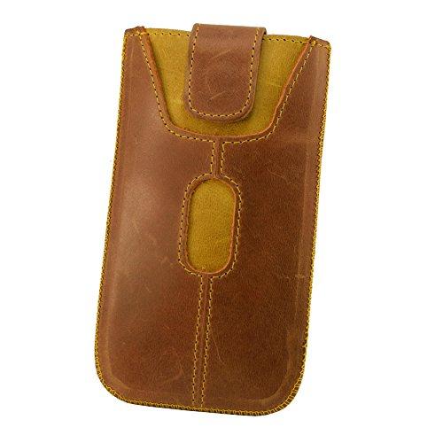Etui Handy Tasche Apple Iphone 5 5S SE Echt Leder Case Cover Hülle Handysocken Lederetui Leder socken mit Magnetverschluss Rost Hell Braun Handarbeit Rost Hell Braun/Gelb