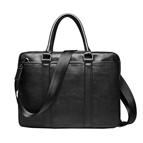 Yy.f Handtaschen Business-Taschen Leder-Mode-Modelle Jugend Schulter Messenger Bag Herren Aktentasche Gezeiten Tasche Geschäftsreise Arbeits Computer Tasche (schwarz Und Braun),Black-38*6*28cm