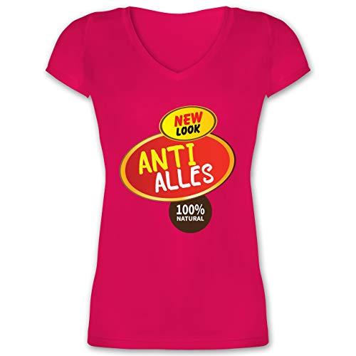 Shady Kostüm Slim - Karneval & Fasching - Anti Alles Kostüm - XS - Fuchsia - XO1525 - Damen T-Shirt mit V-Ausschnitt