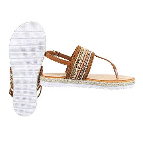 Zehentrenner Damenschuhe Peep-Toe Zehentrenner Schnalle Ital-Design Sandalen / Sandaletten Camel