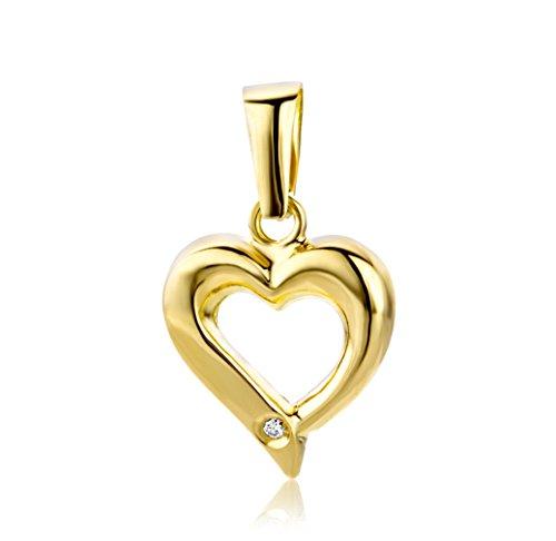 Miore Anhänger mit Herz Gelbgold 18 Karat / 750 Gold Diamant Brilliant