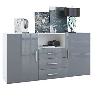sideboard chest of drawers skadu in white matt grey high. Black Bedroom Furniture Sets. Home Design Ideas