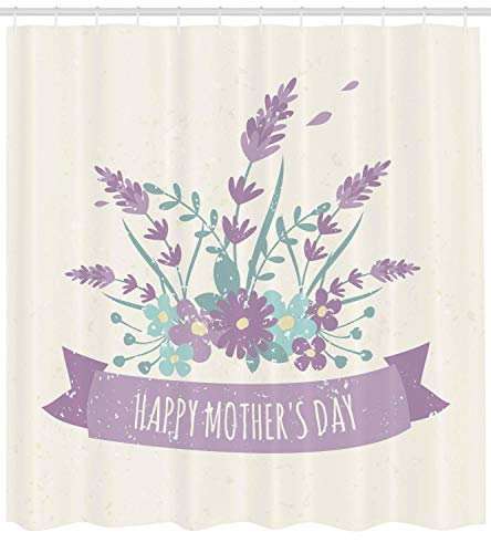 ZKHTO Mothers Day Shower Curtain, Wildflowers Bouquet and Celebration Quote Honoring Loved Ones, Cloth Fabric Bathroom Decor Set with Hooks, Lavender Seafoam and Ivory,60 X 72 Inches